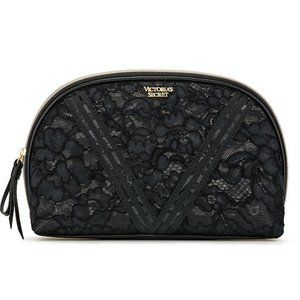 VICTORIA'S SECRET Floral Black Lace Glam Bag